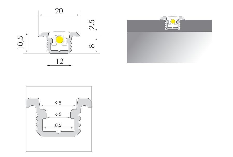 Abmessungen Stufeneinbauprofil